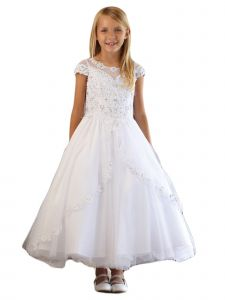 Angels Garment Girls White Satin Tulle Split Apron Communion Dress 6-16