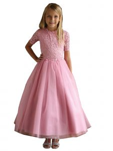 Angels Garment Big Girls Champagne Beaded Tulle Lace Flower Girl Dress 7-16