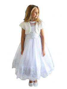 Angels Garment Big Girls Off-White Soft Plush Rosette Elegant Bolero 8