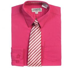 Fuchsia Button Up Dress Shirt Gray Striped Tie Set Boys 6