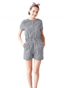 Bunny n Bloom Womens Dark Blue White Gingham Button Romper S-L