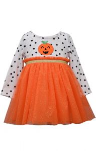 Bonnie Jean Baby Girls Orange Long Sleeve Pumpkin Halloween Dress 12-24M
