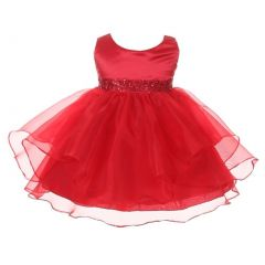Chic Baby Girls Red Organza Embellished Waist Flower Girl Dress 3-24M