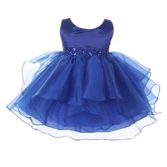 Chic Baby Girls Royal Blue Organza Embellished Waist Flower Girl Dress 3-24M