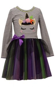 Bonnie Jean Little Girls Multi Color Stripe Witch Icorn Halloween Dress 2T-6X