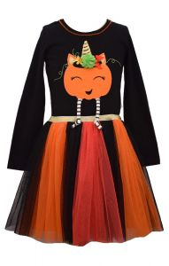 Bonnie Jean Little Girls Orange Pumpkin Ballerina Skirt Halloween Dress 2T-6X
