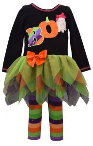 Bonnie Jean Little Girls Multi Color Long Sleeve Hanky Hem Halloween Outfit 2T-6X
