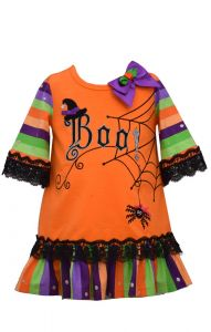 Bonnie Jean Little Girls Orange Stripe Spider Boo Halloween Dress 2T-6X
