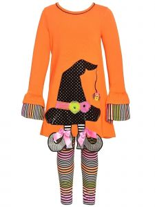 Bonnie Jean Little Girls Orange Witch Hat Applique 2 Pc Legging Outfit 2T-6X