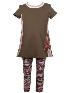 Bonnie Jean Little Girls Olive Floral Applique Camouflage Outfit 2T-6X