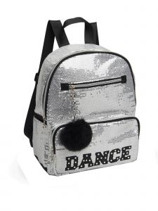 "Danshuz Girls Silver Sequin ""Dance"" Rhinestone Backpack 10.5""x 12""x 4.5"""