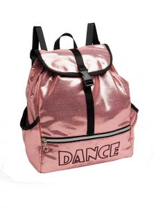 "Danshuz Girls Pink ""Dance"" Embroidered Shine Bright Backpack 12.5""x 4""x 4"""