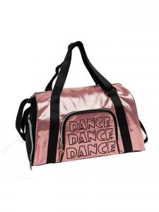 "Danshuz Girls Pink ""Dance"" Embroidered Shine Bright Duffel 16""x 9""x 8.5"""
