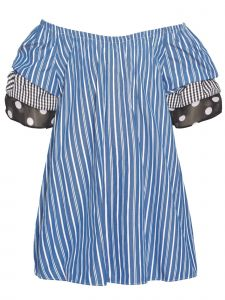 Bonnie Jean Big Girls Blue Stripe Off-Shoulder Short Sleeved Dress 7-16