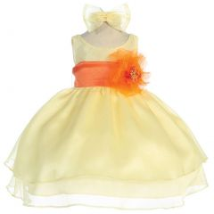 Calla Collection Baby Girls Yellow Orange Sash Organza Flower Girl Dress 6-24M