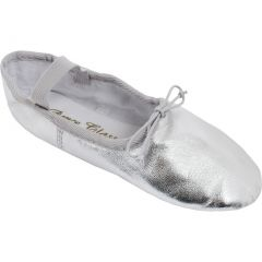 Silver Leather One Piece Outsole Elastic Strap Ballet Shoes 7 Womens
