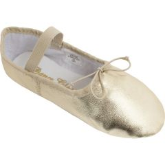 Girls Gold Leather One Piece Outsole Ballet Shoes 12.5-4 Kids