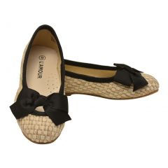 L`Amour Little Girls Black Faux Straw Bow Flats 7-10 Toddler