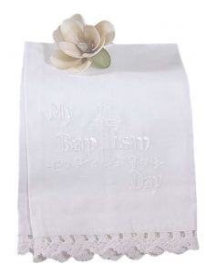 Little Things Mean A Lot White Lace Cotton Embroidered Christening Towel