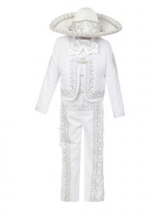 Rain Kids Big Boys White Rooster Intricate Embroidery 6 Pc Charro Suit 8-14