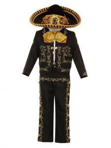 Rain Kids Big Boys Black Gold Rooster Embroidery Elegant 6 Pc Charro Suit 8-14