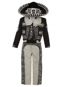 Rain Kids Boys Black Silver Horse Embroidery Elegant 6 Pc Charro Suit NB-6