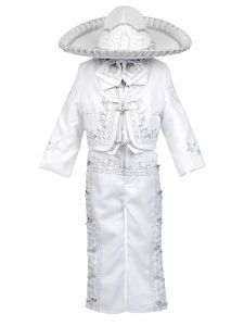 Rain Kids Baby Boys White Silver Virgin Mary Charro 6 Pc Formal Suit Set 6-12M