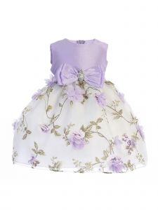 Crayon Kids Baby Girls Lilac Floral Print Easter Flower Girl Dress 6-24M