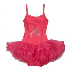 Girls Hot Pink Ballet Slipper Skirted Dance Leotard 12M-10
