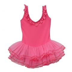 Girls Hot Pink Ruffle Detail Lace Skirted Dance Leotard 12M-10