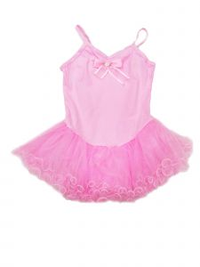 Wenchoice Little Girls Pink Wave Strap Bow Detail Tutu Short Dress 2T-4