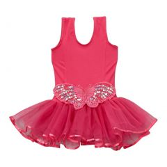 Girls Hot Pink Butterfly Applique Skirted Dance Leotard 12M-10
