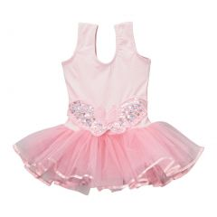 Girls Pink Butterfly Applique Skirted Ruffle Dance Leotard 12M-10