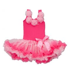 Little Girls Hot Pink 5 Roses Embellishment Ruffle Petti Dress 0-7