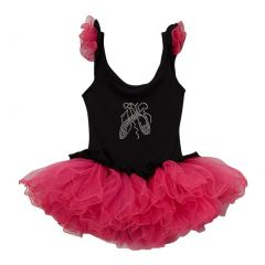 Girls Black Hot Pink Ballet Slipper Ruffle Skirted Leotard 12M-10