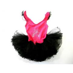 Hot Pink Ballet Shoes Black Tutu Ballet Dress Girls S-XL