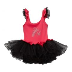 Girls Hot Pink Black Ballet Slipper Ruffle Skirted Leotard 12M-10