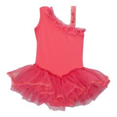 Girls Hot Pink Ruffle Asymmetrical Shoulder Ballet Dress 12M-10