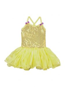 Wenchoice Girls Yellow Organdy Sequin Embellished Ballet Dress 9M-8