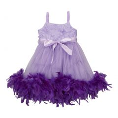Big Girls Lavender Feather Rosette Sophia Flower Girl Dress 4-7
