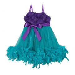 Little Girl Turquoise Purple Feathers Bow Frilly Mermaid Dress 0-7