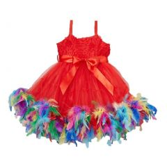 Little Girl Red Multi Color Rainbow Feathers Bow Frilly Dress 0-7