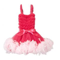 Girls Hot Pink Feathery Bow Accent Flower Girl Dress 12M-7