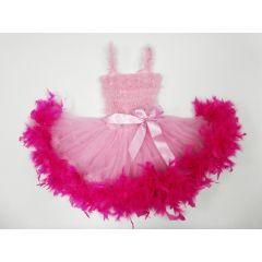 Pink Ruffle Feather Tutu Ballet Dress Girls S-L