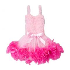 Girls Pink Hot Pink Feathery Bow Accent Flower Girl Dress 12M-7