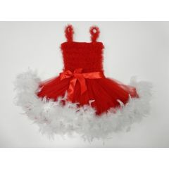 Red White Ruffle Feather Tutu Ballet Dress Girls S-L