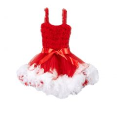Girls White Red Feathery Bow Accent Flower Girl Dress 12M-7