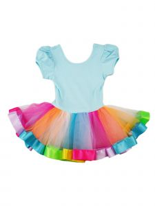 Wenchoice Girls Blue Multi Rainbow Banded Hem Ruffle Ballet Dress 9M-8