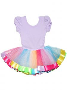 Wenchoice Girls Lavender Multi Rainbow Banded Hem Ruffle Ballet Dress 9M-8