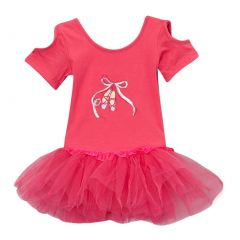 Girls Hot Pink Cut Out Sleeve Ballet Slipper Tutu Dress 12M-10